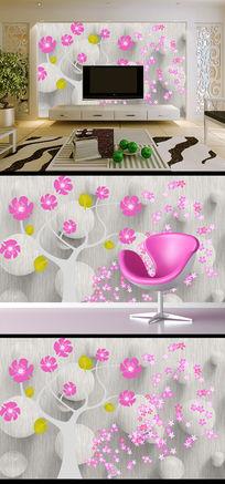 粉色时尚花卉3D电视背景墙装饰画