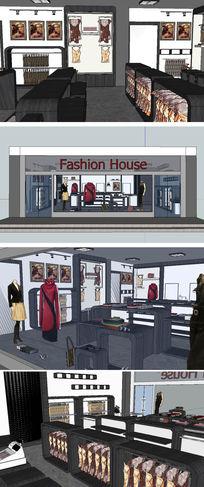 服装店室内设计草图大师模型