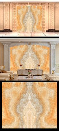 金色大气大理石拼花背景墙电视墙
