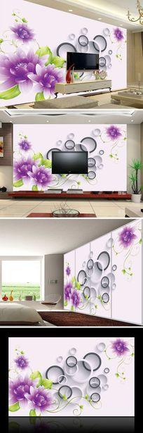 手绘鲜花电视墙背景