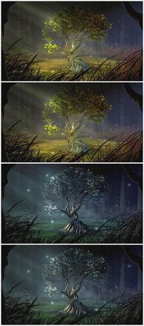 树木四季变化卡通背景视频素材