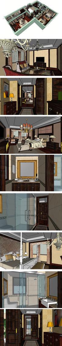 新中式美式结合别墅室内草图大师SU模型
