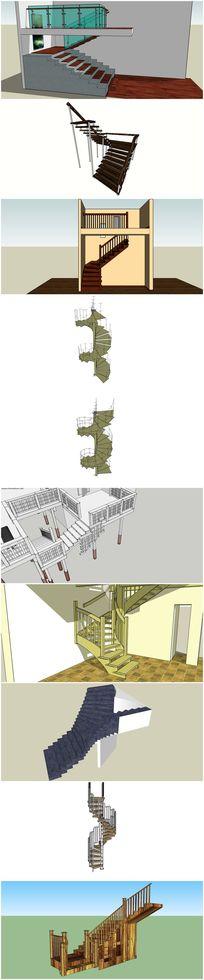 10套精品豪华旋转楼梯建筑su模型 skp