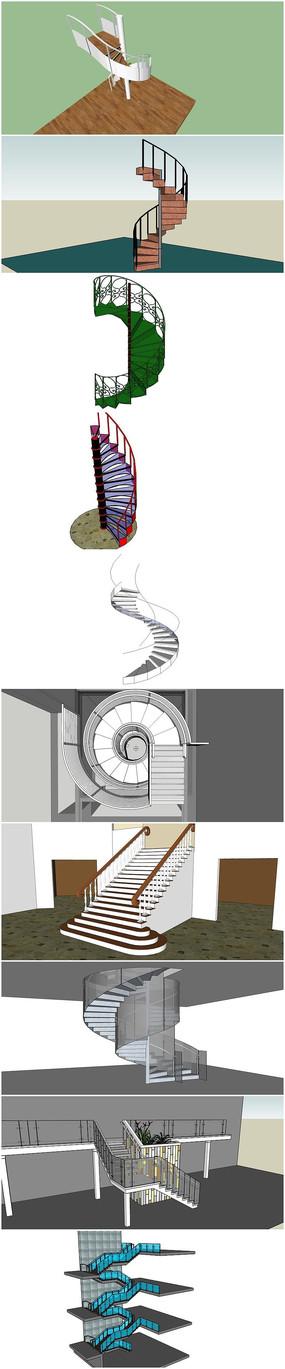 10套精品豪华旋转楼梯建筑su模型