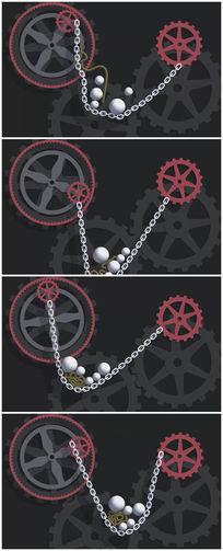 齿轮链条小球卡通背景视频素材