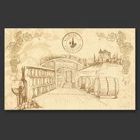 复古葡萄酒窖背景