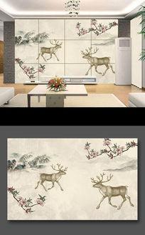 怀旧复古梅花麇鹿背景
