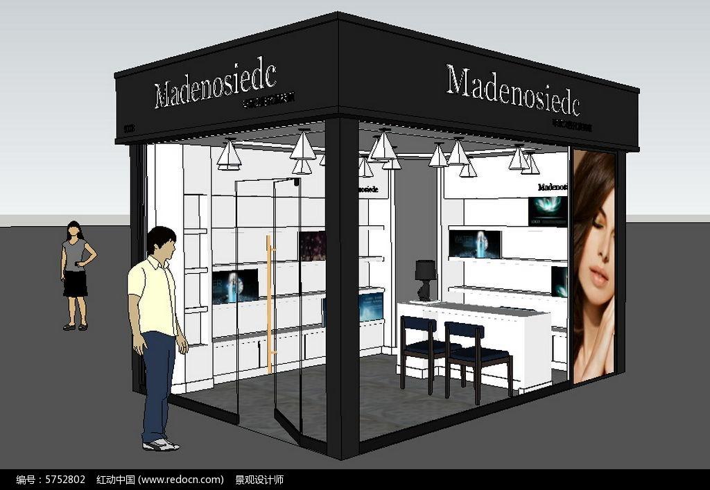 化妆品店铺商店货架柜台草图大师sketchup模型_红动网图片
