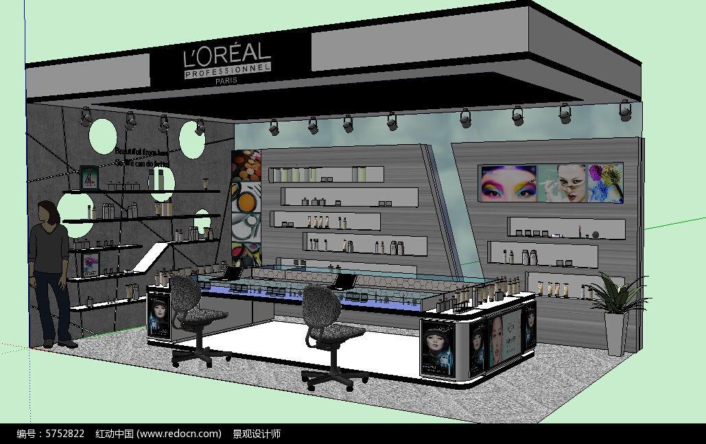 化妆品店铺商店货架柜台草图大师sketchup模型