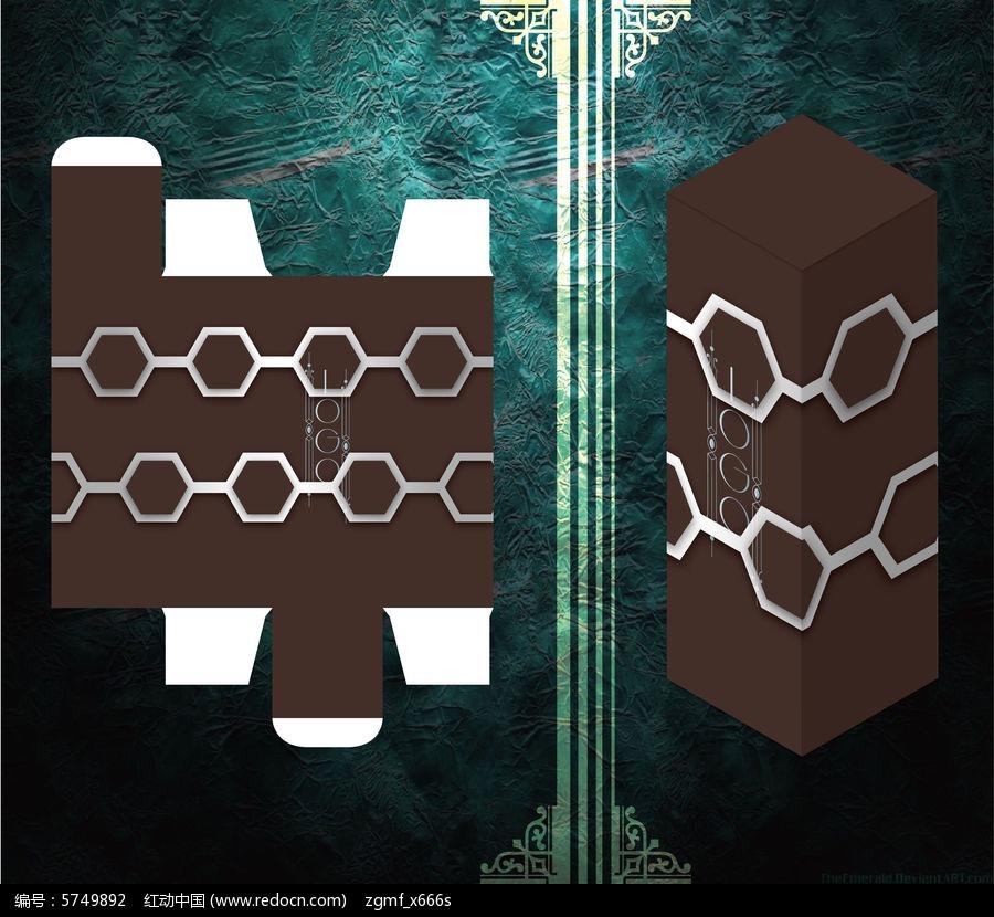 科技感六边形设计包装盒模板图片