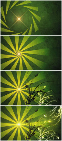绿色背景花朵开放背景视频素材