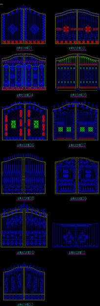 欧式古典铁艺大门精细CAD图纸