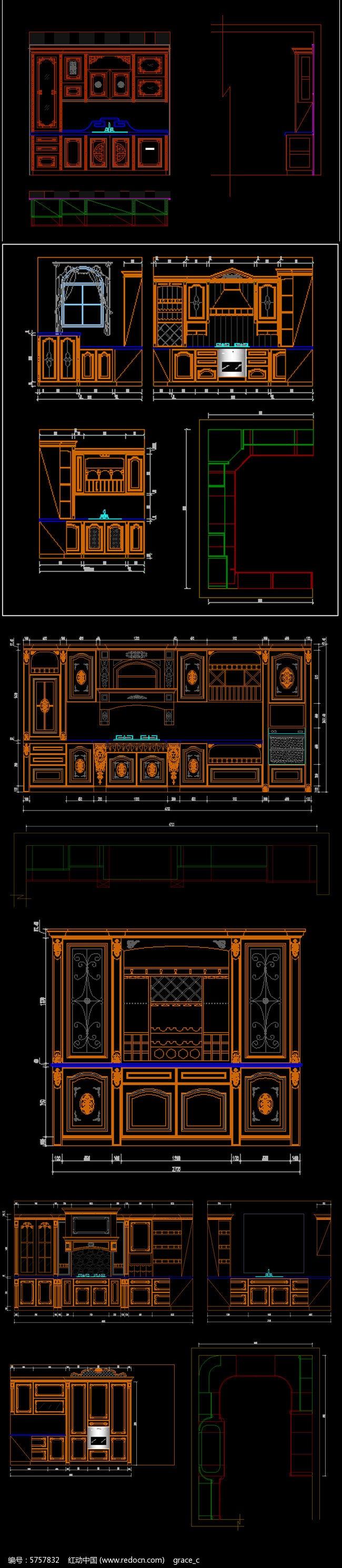 全套精品中式欧式整体实木橱柜图库图片