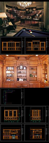 全套欧式实木整体橱柜书柜精细图 dwg