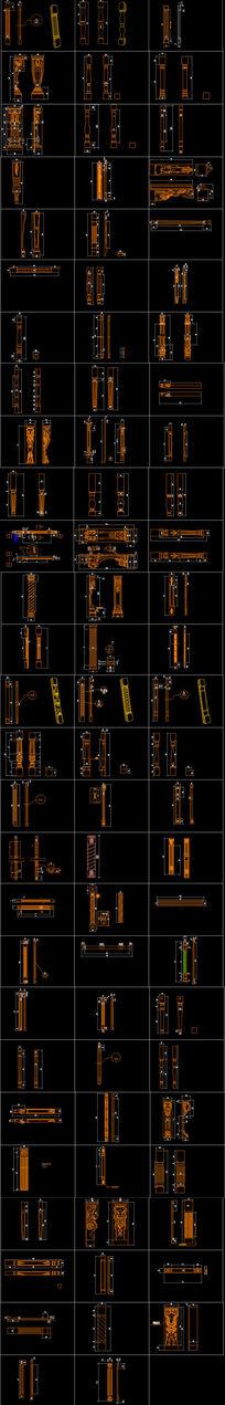 实木橱柜罗马柱精细CAD素材