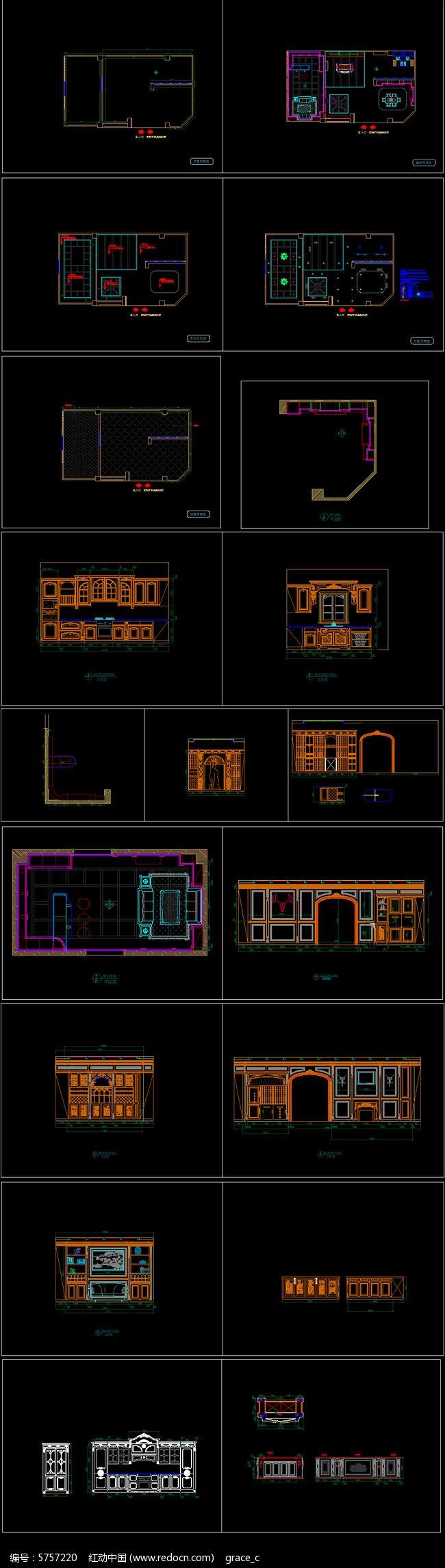 实木整装店面展厅装修CAD图纸图片