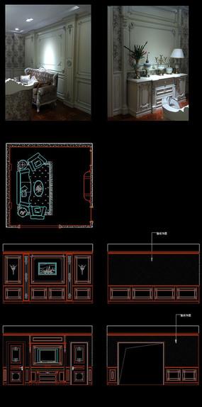 实木整装法式客厅护墙板
