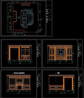 实木整装客厅护墙板精细CAD