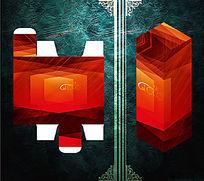 斜纹几何红色调包装盒模板