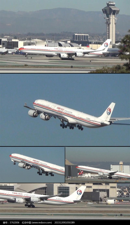 中国东方航空飞机机场起飞mov素材下载