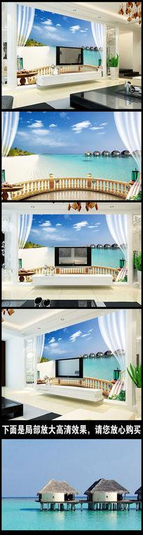 3D立体窗外海景背景墙壁画