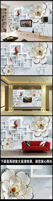 浮雕陶瓷花朵电视背景墙