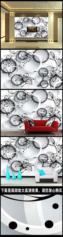 时尚潮流圈圈3D电视背景墙