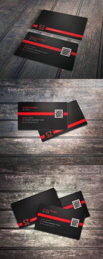 红黑色简介二维码名片设计