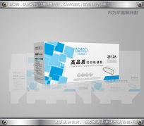 蓝色立体背景硒鼓包装设计平面图cdr CDR