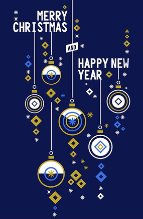 深蓝色时尚创意圣诞海报