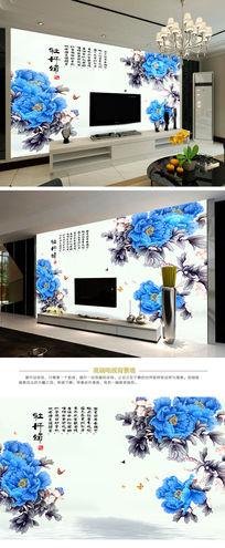 中式牡丹花山水壁画电视背景墙
