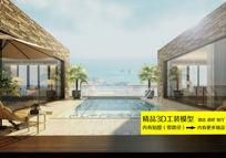 海滨渡假酒店外景3D装修效果图