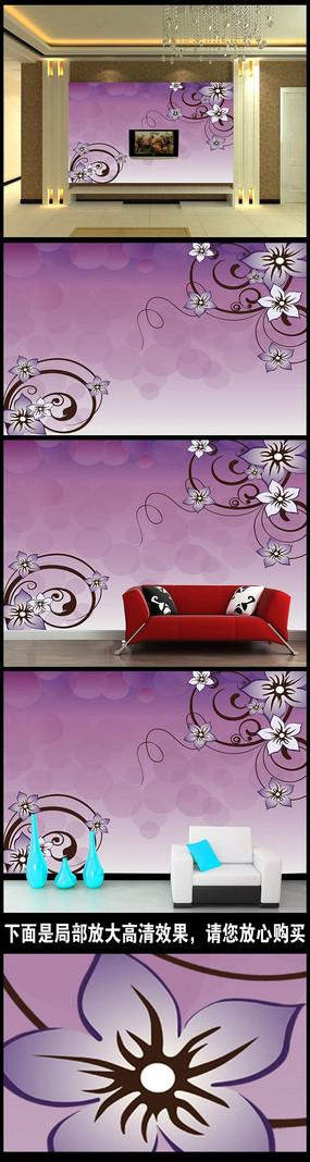 梦幻花纹紫色背景墙