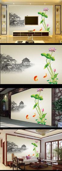 水墨画国画荷花图中式电视背景墙
