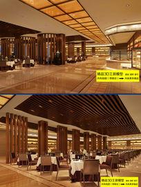 豪华酒楼酒店大堂餐厅3D模型