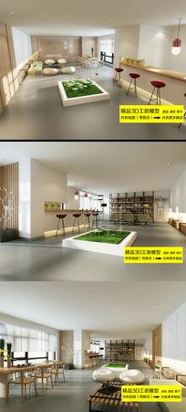 简约餐厅酒吧3D模型