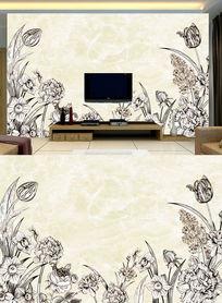 手绘花卉电视背景墙素描花卉