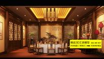 中式酒店餐厅包间3dmax装修效果图