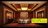 中式酒店餐厅包间3dmax 装修效果图