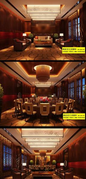 中式酒店餐厅包间3dmax装修效果图图片