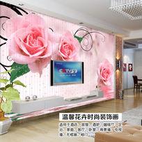 玫瑰画电视梦幻背景