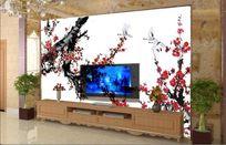 梅花仙鹤电视背景墙