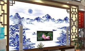 青花山水电视背景