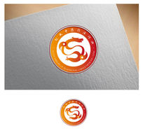 橘色圆形中医龙形logo