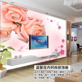 手绘玫瑰电视背景