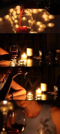 烛光晚餐倒红酒视频实拍素材