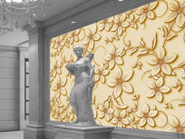 浮雕花纹电视背景