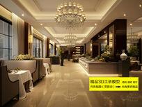 豪华酒店西餐厅3D装修模型