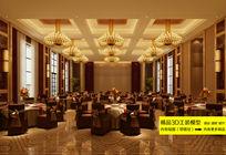 豪华酒店中餐厅大堂3D模型