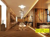 豪华五星级酒店大型西餐厅3D模型